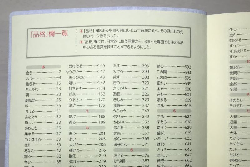明鏡国語辞典 品格欄一覧 索引